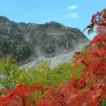 真っ赤なナナカマドと穂高岳(フルHD1920x1080ワイド壁紙)