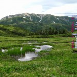 池塘と薬師岳